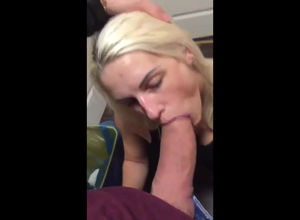 Platinum-blonde Girlfriend fellating..