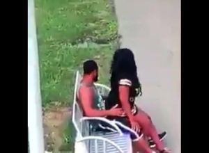 Ebony duo pulverizes on park bench not..