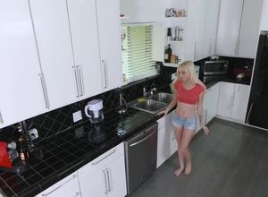 Petite platinum-blonde Alex gets..