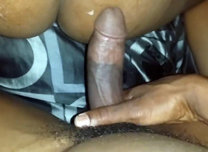 Thick spunk geyser on ebony caboose in..