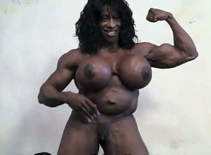 Real ebony gals bodybuilder with large..