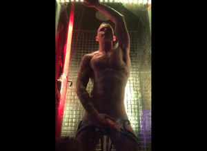 Stud dance Striptease in glass cage