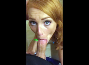 Buxom sandy-haired with blue eyes give..