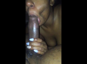 Ebony super-bitch deep-throating..