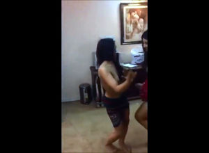 Indian lady Mujra dancing bra-less at..
