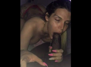 Tatted gf inhaling dick and dirty..