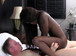 Super-naughty ebony nymph rails milky..