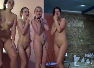 A gang of totally bare ladies sings in..