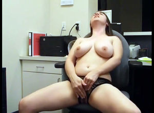 brings herself to climax at work place..