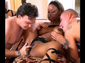 Big-chested dark-hued queen Melodee..
