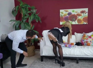 Maid's cock-squeezing beaver slammed..