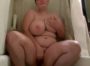 Amat plumper with giga titties peeing..