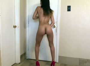 Nude latina tart railing faux-cock for..
