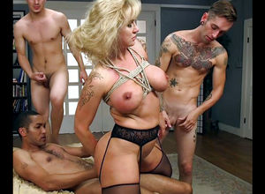 Corded up huge-chested mature gets..