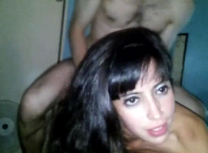 Dark-haired escort takes 2 spanish..